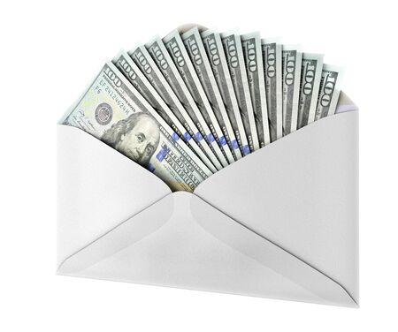 money in envelope isolated on white. 3D rendering.