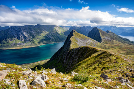 View from Husfjellet Mountain on Senja Island, Norway