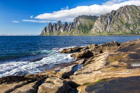 View to Mefjord on Senja island, Troms, Norway Stock Photo