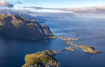 Scenic birds eye view of the village of Reine and surrounding f