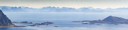 View to Norway land from Lofoten islands. Stock Photo