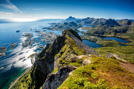 Birds eye view of the Svolvaer town. Stock Photo