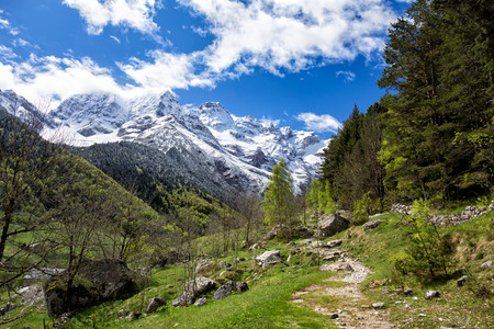 Cirque de Gavarnie, Pyrenees mountains, France. Panoramic view from pathway.
