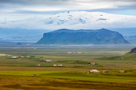 Icelandic landscapes with snowy mountains