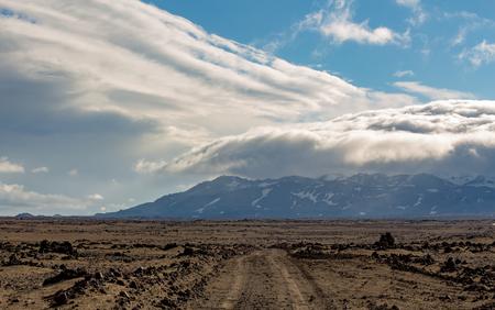 Rural Road near Herdubreid mountain, Highlands, Iceland