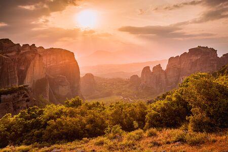 Greece. Meteora. Sandstone rock formations.