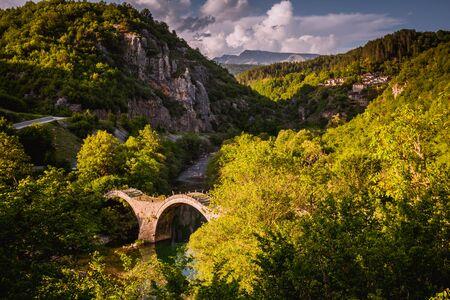 Plakidas Bridge with Kipi village on background Stock Photo