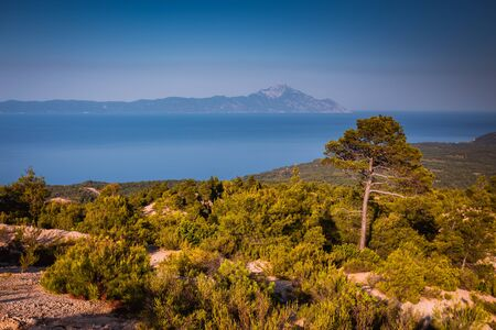 View on  Athos mountain from Sithonia