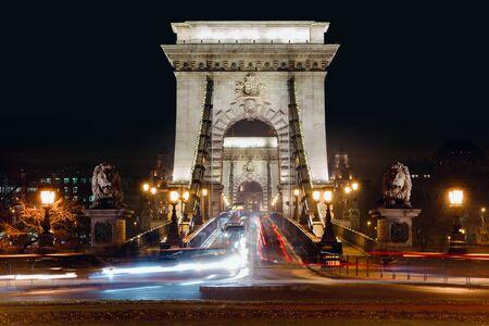 Budapest Szechenyi Chain Bridge at night. View on the bridge from Buda. The 2019 year.