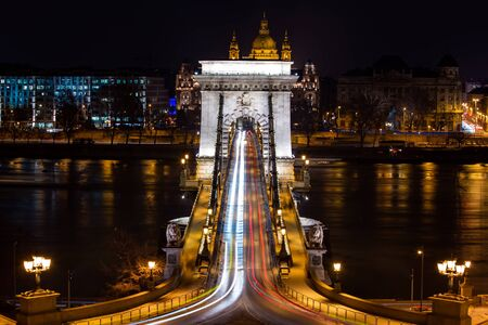 View on the bridge from Buda hill. Symmetrical composition. 2019 Year. Stock Photo