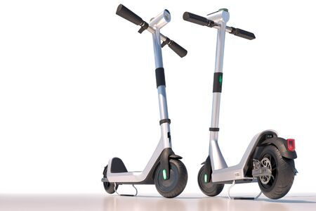 Modern electric scooters isolated on white background. Eco sharing transport. 3d rendering Stock Photo