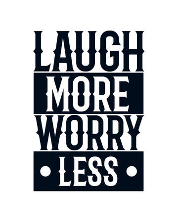 Laugh more worry less. Hand drawn typography poster design. Premium Vector.