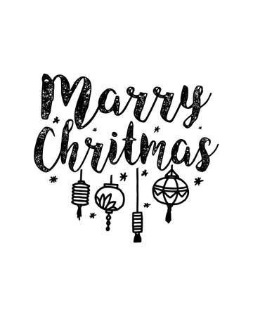 marry christmas. Hand drawn typography poster design. Premium Vector. Vetores