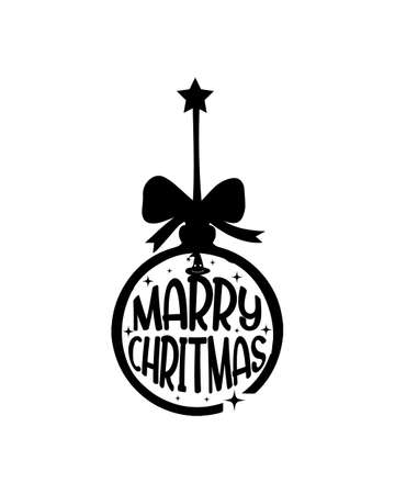 marry christmas. Hand drawn typography poster design. Premium Vector.
