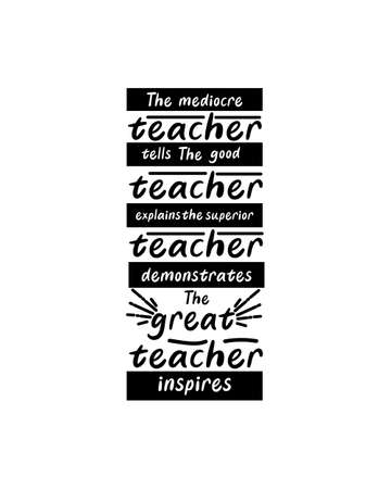 The mediocre teacher tells the good teacher explains the superior teacher demonstrates the great teacher inspires.Hand drawn typography poster design. Premium Vector.
