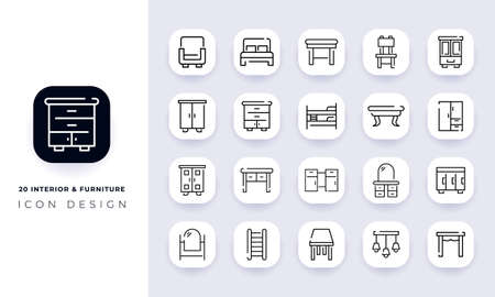 Line art incomplete interior & furniture icon pack. In this pack incorporate with twenty different interior & furniture icon.
