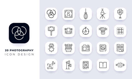 Line art incomplete photography icon pack. In this pack incorporate with twenty different photography icon. Vetores