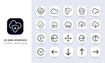 Line art incomplete user interface icon pack. In this pack incorporate with twenty different user interface icon. Vetores