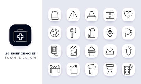 Line art incomplete emergencies icon pack. In this pack incorporate with twenty different emergencies icon.