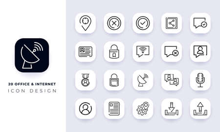 Line art incomplete office & internet icon pack. In this pack incorporate with twenty different office & internet icon. Vetores
