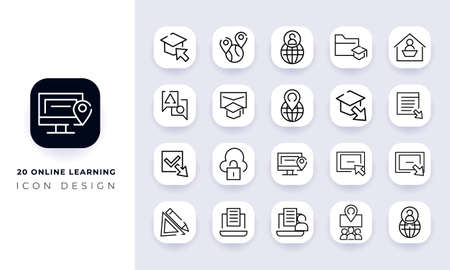 Line art incomplete online learning icon pack. In this pack incorporate with twenty different online learning icon.