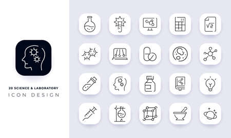 Line art incomplete science & laboratory icon pack. In this pack incorporate with twenty different science & laboratory icon.