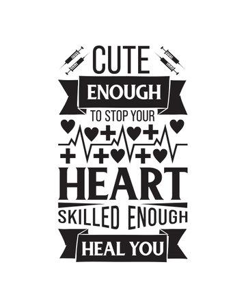 Nurse hand drawn typography poster design. Premium Vector.