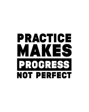 Practice makes progress not perfect. Hand drawn typography poster design. Premium Vector.