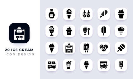 Minimal flat ice cream icon pack. In this pack incorporate with twenty different ice cream icon.