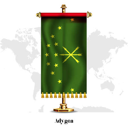 Adygea National realistic flag with Stand. Greeting card National Independence Day poster design of the Abkhazia.