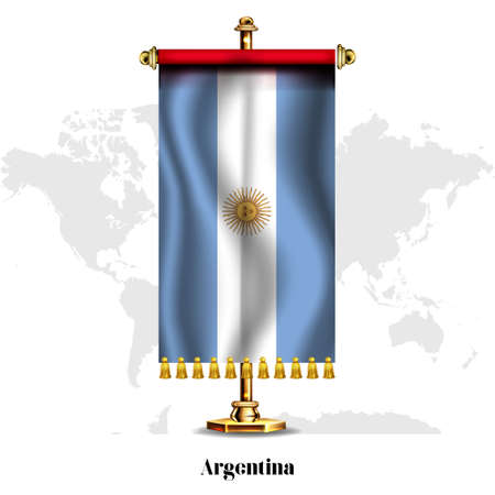 Argentina National realistic flag with Stand. Greeting card National Independence Day poster design of the Antigua-and-Barbuda.