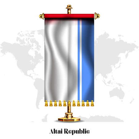 Altai -Republic National realistic flag with Stand. Greeting card National Independence Day poster design of the Algeria.