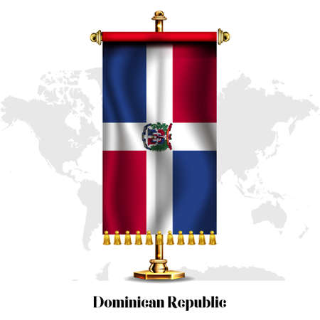Dominican Republic National realistic flag with Stand. Greeting card National Independence Day poster design of the Dominica.