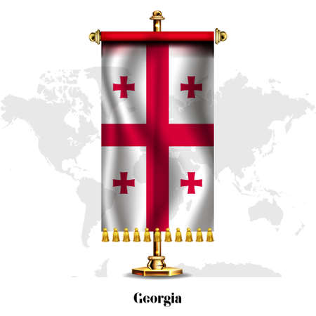 Georgia National realistic flag with Stand.