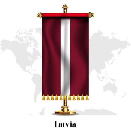 Latvia National realistic flag with Stand.