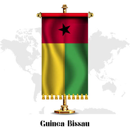 Guinea-Bissau National realistic flag with Stand.