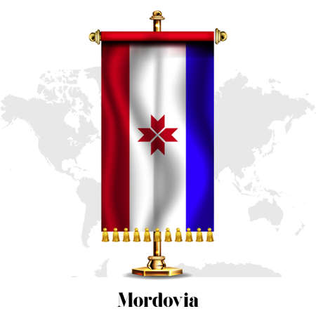 Mordovia National realistic flag with Stand.