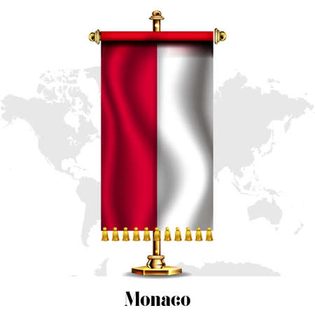 Monaco National realistic flag with Stand.