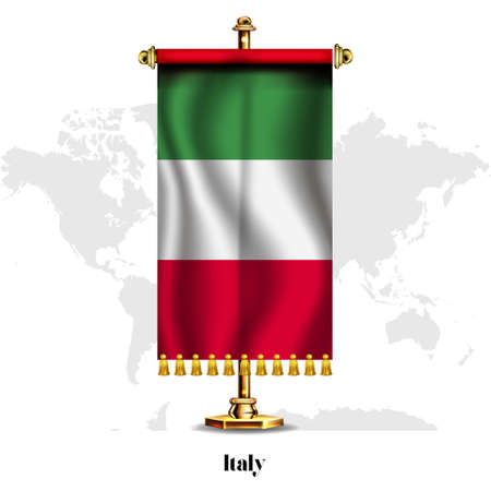 Italy National realistic flag with Stand.