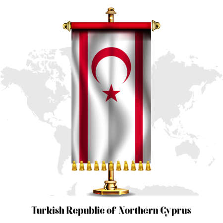 Turkish Republic of Northern Cyprus National realistic flag with Stand.