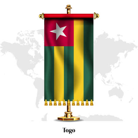 Togo National realistic flag with Stand.