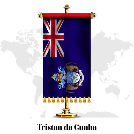 Tristan da Cunha National realistic flag with Stand.