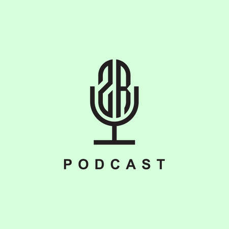 Creative Initial Letters ZR for Podcast Or Music. It will be suitable for which company or brand name start those initial.