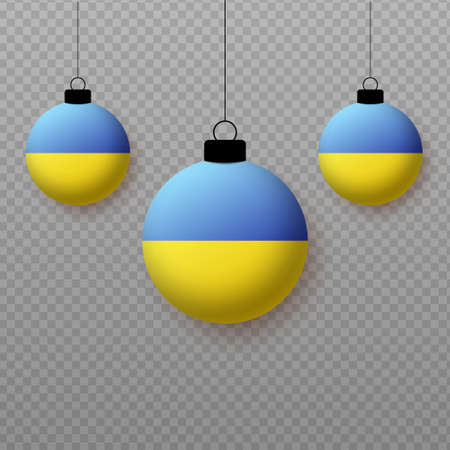 Realistic Ukraine Flag with flying light balloons. Decorative elements for national holidays.