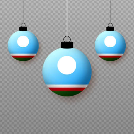 Realistic Sakha Republic Flag with flying light balloons. Decorative elements for national holidays.