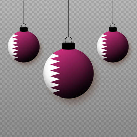 Realistic Qatar Flag with flying light balloons. Decorative elements for national holidays.