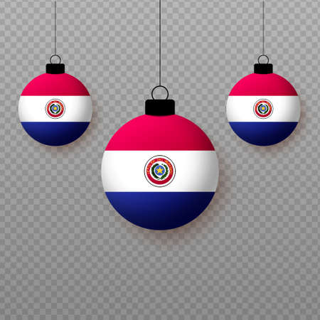Realistic Paraguay Flag with flying light balloons. Decorative elements for national holidays. Ilustração