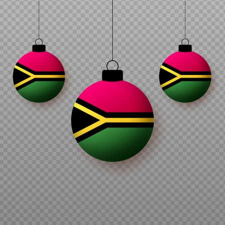 Realistic Vanuatu Flag with flying light balloons. Decorative elements for national holidays. Ilustração