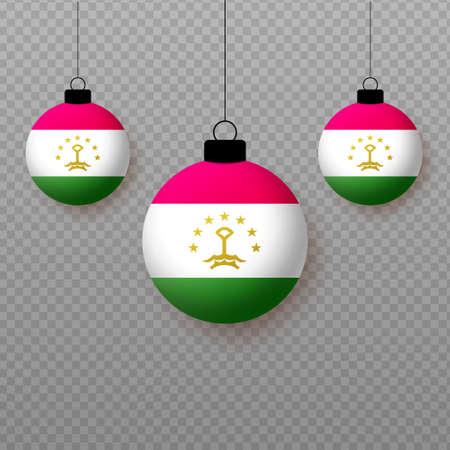 Realistic Tajikistan Flag with flying light balloons. Decorative elements for national holidays. Ilustração
