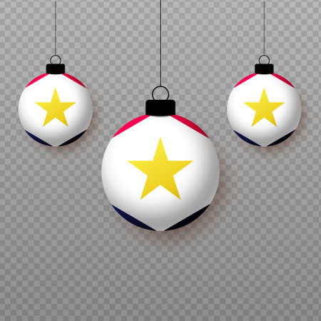 Realistic Saba Flag with flying light balloons. Decorative elements for national holidays.